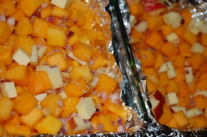 Roast Butternut Squash, Onions, Apple for 1 Hour